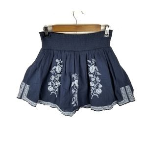 J Crew Gauze Embroidered Floral Mini Skirt